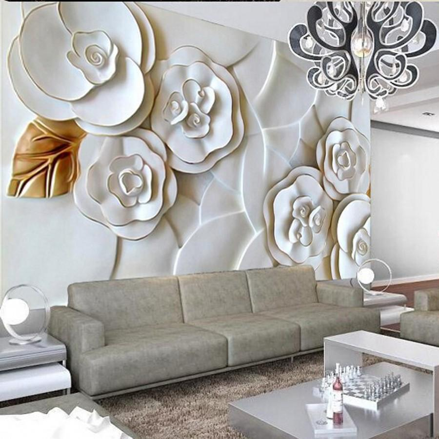 Al por mayor de encargo del papel pintado 3D fotografía de fondo de papel de pared minimalista moderna sala de TV de fondo rosas blancas en relieve del papel pintado 3D
