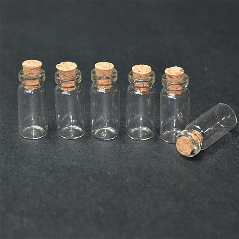1.4ml Small Transparent Glass Bottles With Cork Mini Empty Glass Vials Jars 200pcslot