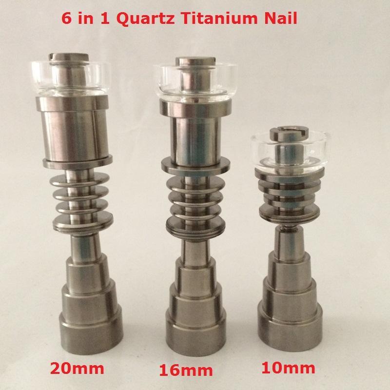 Gr2 Domeless titanio TI chiodi dabber 6 in 1 maschio femmina fit 14mm 10mm 18mm giunto vetro bong per cera elettrica Dab nail dab kit