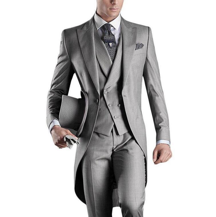 Vente en gros - Meilleure vente 2016 Costumes pour hommes Costume italien Tailcoat Gris Costumes de mariage pour hommes Groom Mens Smokings (veste + pantalon + gilet)