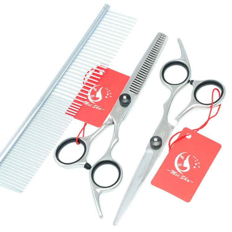 7.0Inch Meisha Stainless Steel Pet Scissors JP440C Straight & Thinning & Curved Dog Shears Pet Grooming Scissors Kits/Set ,HB0040