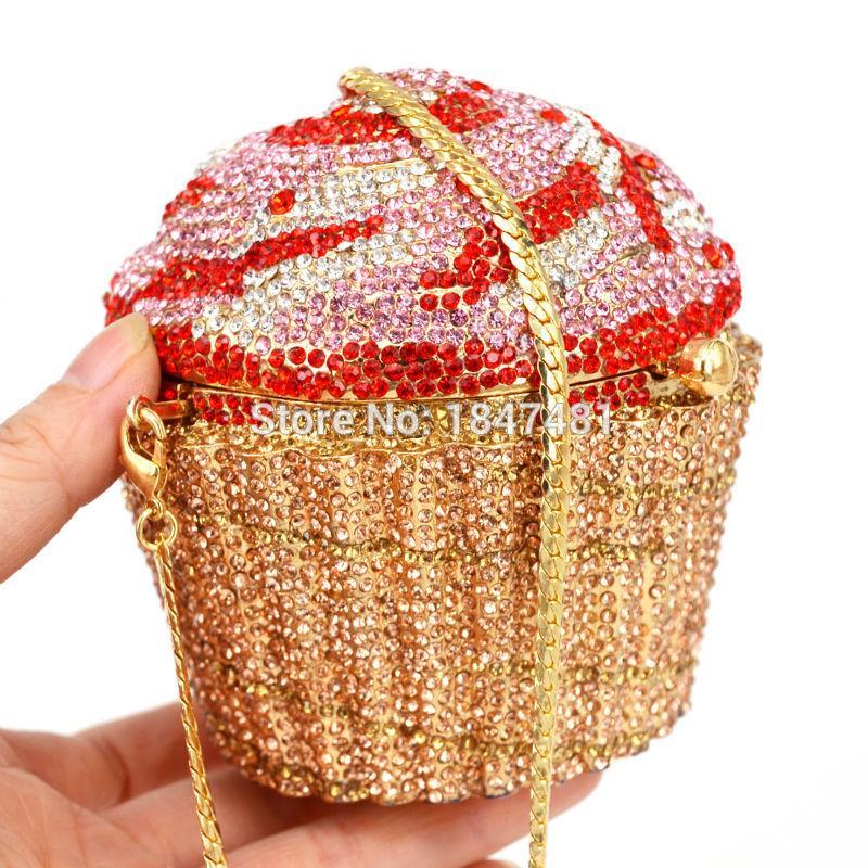 Borsa all'ingrosso di cristallo di sera di moda Cupcake diamante frizione Soiree borsa da donna sposa di cerimonia nuziale Torta Borse SC518