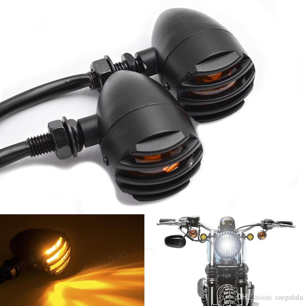 2 X UNIVERSAL MOTORCYCLE BLACK TURN SIGNAL INDICATORS BLINKER AMBER LIGHT LAMP