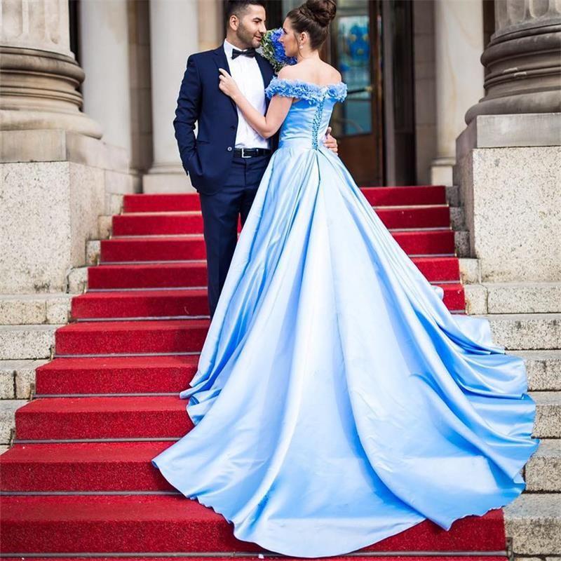 compre elegante azul cielo azul afgano vestido de novia 2017 nuevo