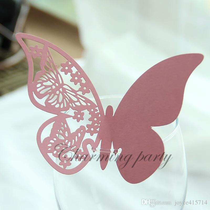 50pcs Butterfly Place Name Card Laser Cut Wedding Table Name Card Elegent Wine Glass Seat Card Paper Party Decoration