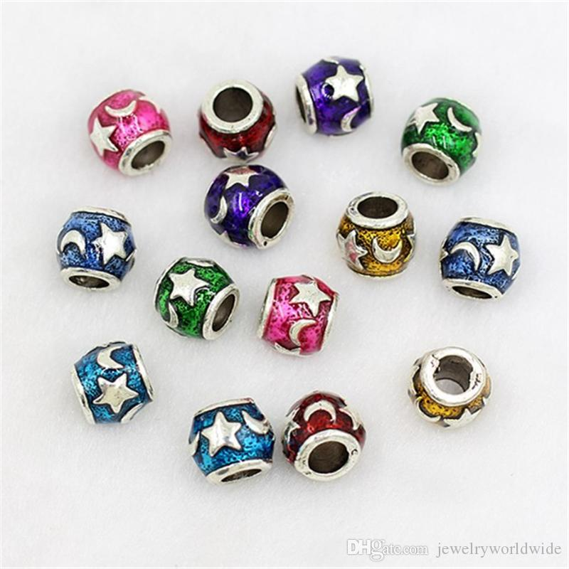 Star And Crescent Moon Charm Bead Oil Dripping 925 Silver Plated Fashion Jewelry Stunning Design European Style For Pandora Bracelet