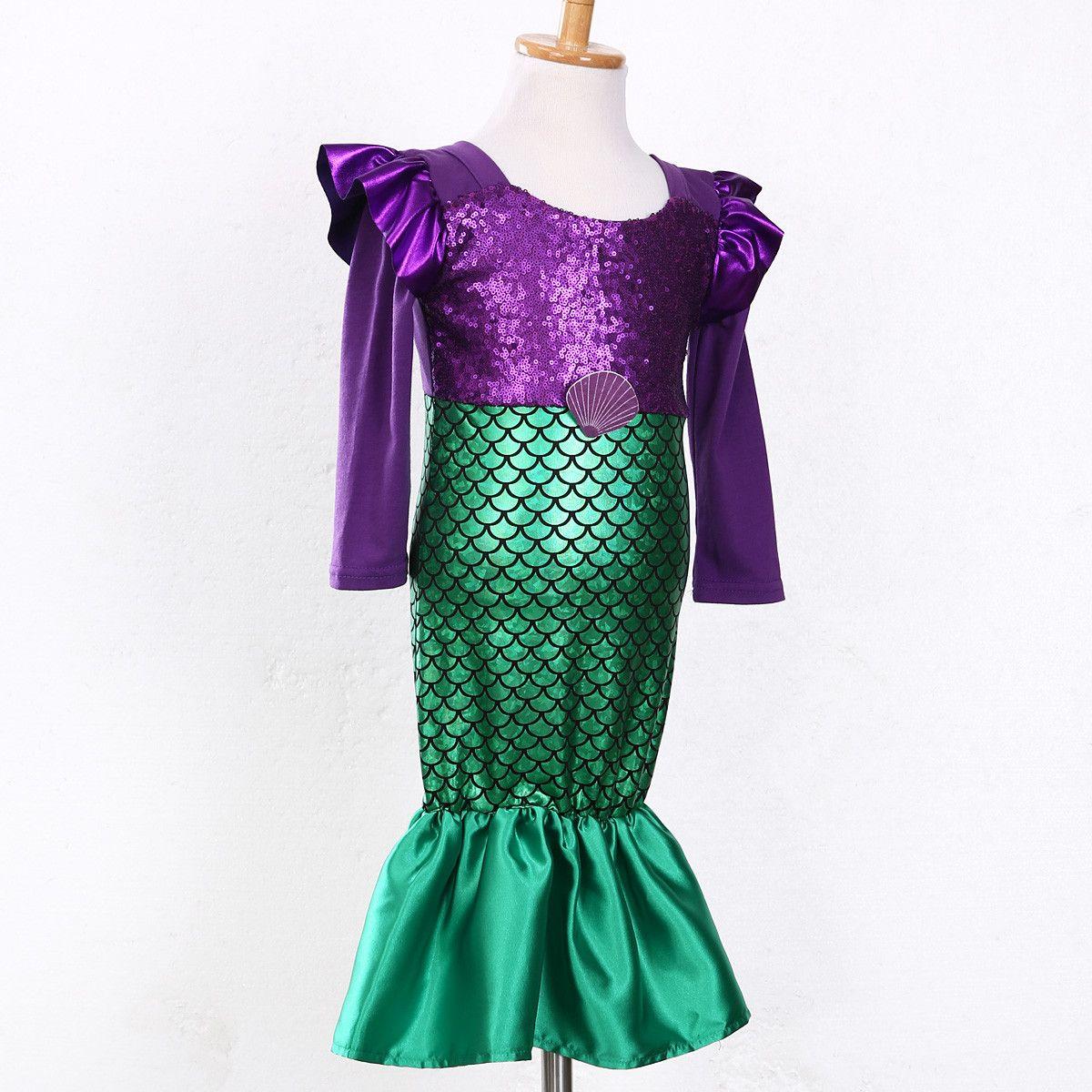 Children Kids Dress Long Sleeve little mermaid Princess Sequins Fancy Dress Costume Kids Girls Halloween Xmas Party free shipping