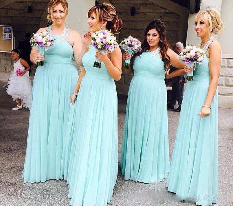 Vestidos de dama de honor de gasa con cuello halter verde menta Vestido largo de fiesta Vestidos de fiesta para damas de honor para bodas Vestidos de invitados baratos