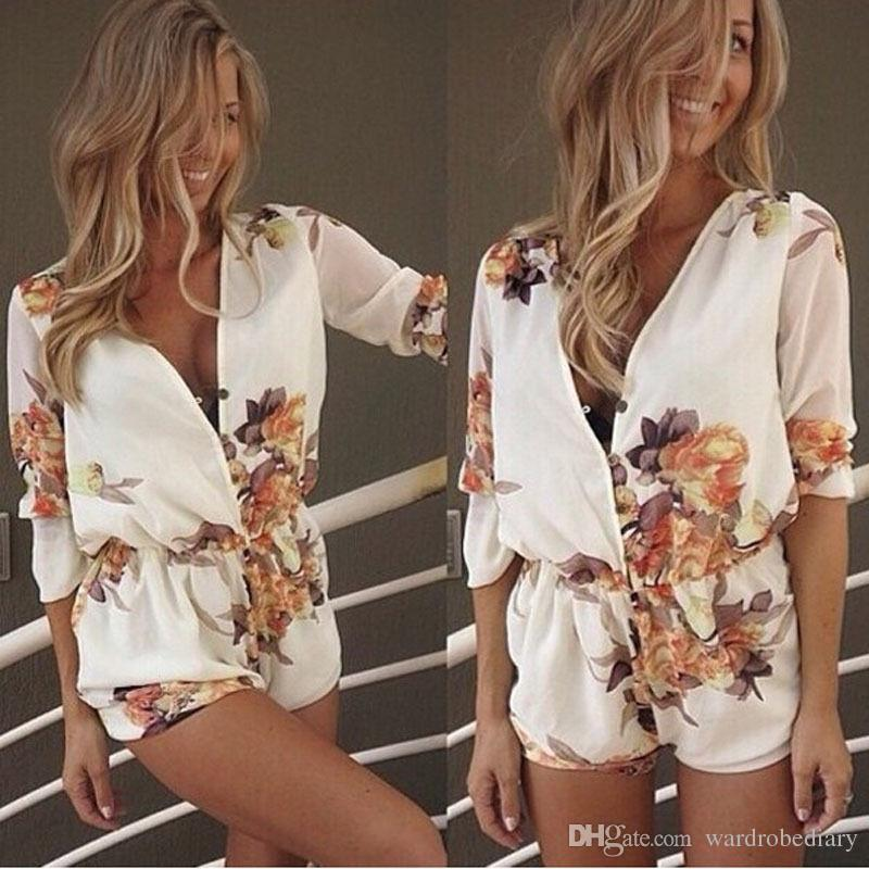 2016 Ladies Clubwear Deep V-Neck Playsuits Bodycon Party Jumpsuit Romper Trousers Pants Womens Clothing Apparel Floral Print Shorts Free DHL