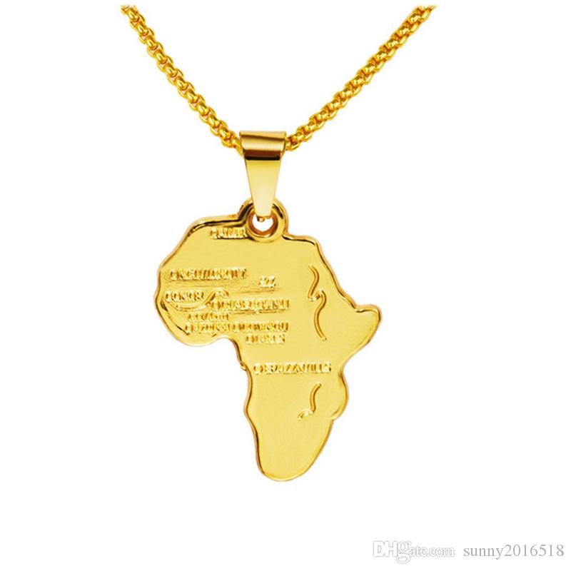 Rock Hippie Small African Map Pendant Necklace 18K Real Gold Plated Chain Long Necklaces Party Jewelry Mens Gifts