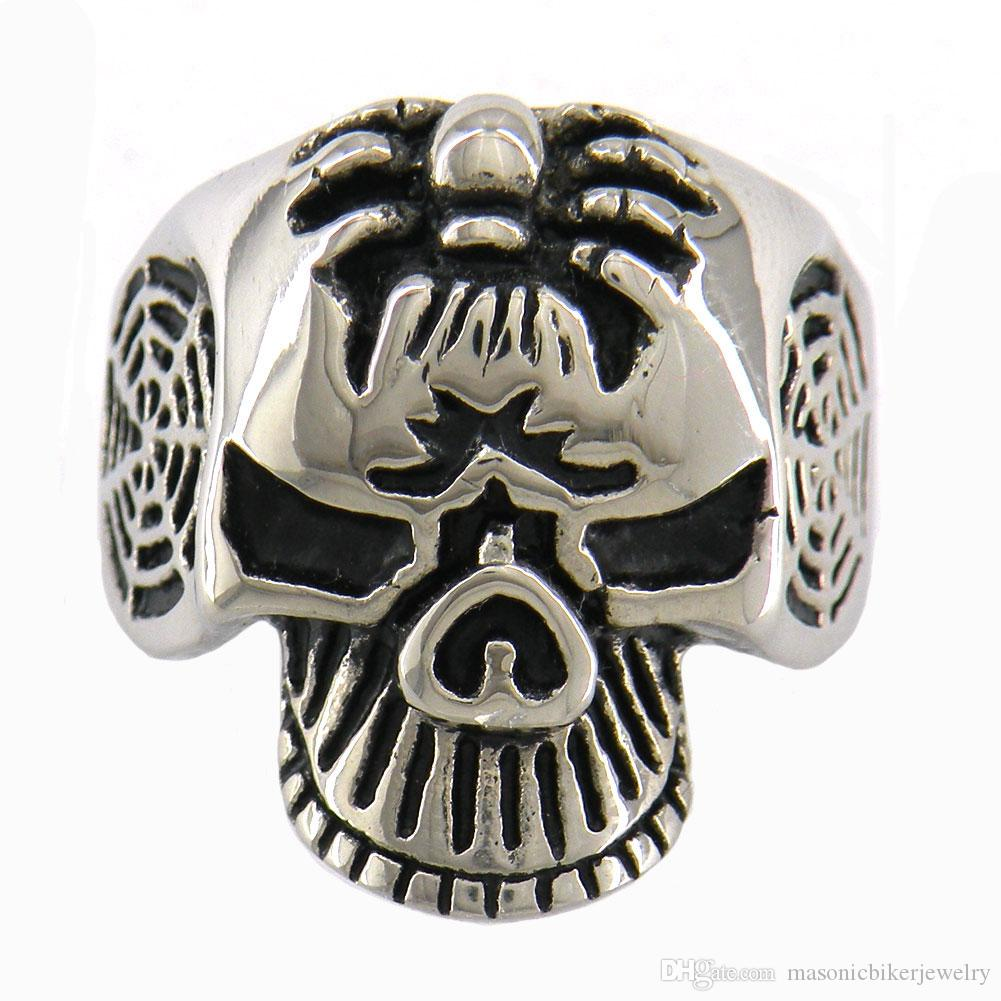 Stainless Steel 2 Color Snake Ghost Skull Biker Ring