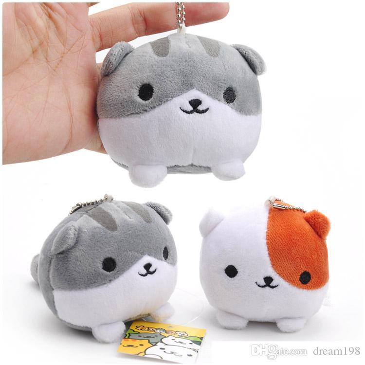 Neko Atsume Cat Mini Plush Dolls Backyard Cat Stuffed Soft Toys Kids Gift Pendants Keychain (10pcs/Lot / Size: 8cm)