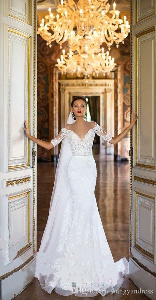 2017 Sheer Neck Heavy Embellishment Illusion Bodice Lace Wedding Dresses Mermaid Half Sleeves Court Train Vintage Milla Nova Bridal Gowns