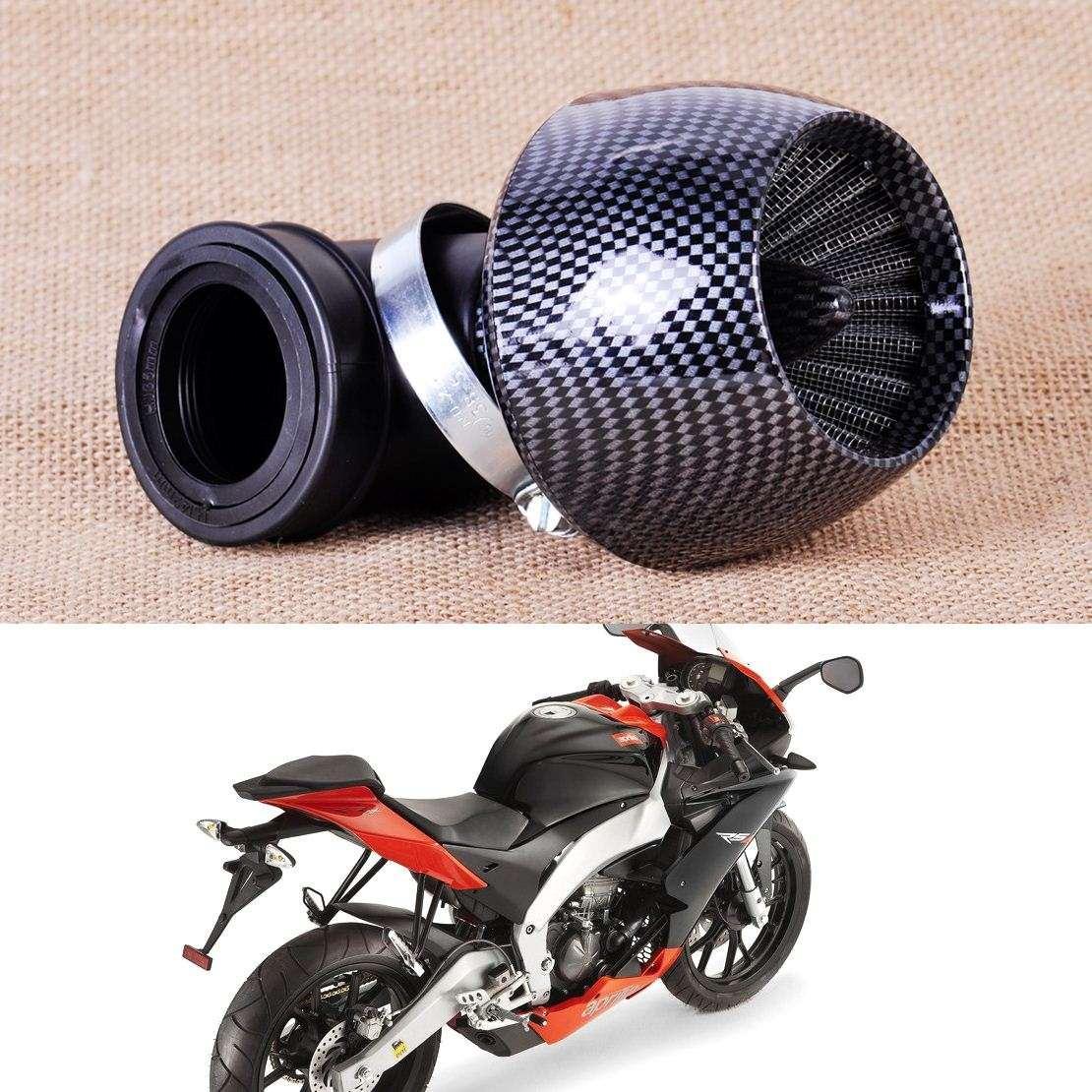 Filtro de aire para motocicleta ATV de 150cc-250cc Universal Filtro de aire de fibra de carbono de motocicleta 35mm