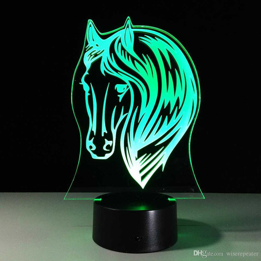 3D Horse Head Optical Illusion Lamp Night Light 7 RGB Lights DC 5V USB Charging 5th Battery Free Shipping