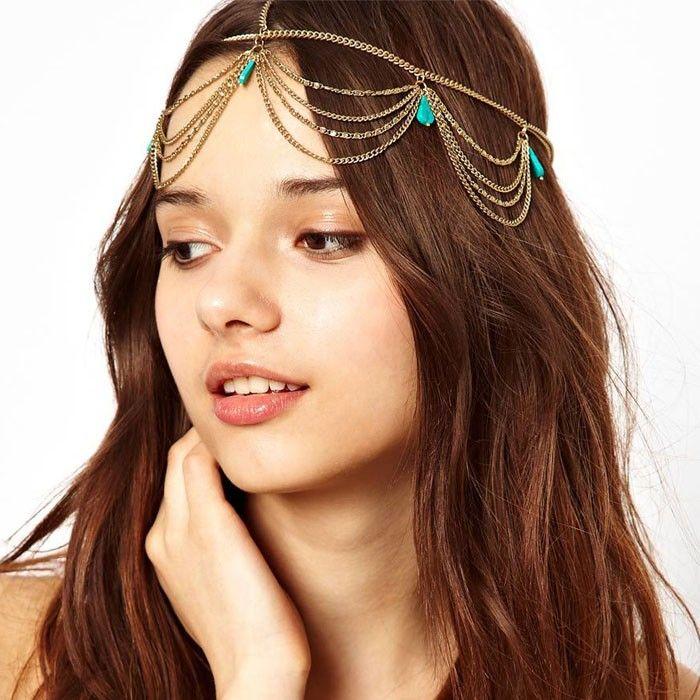 골드 Tiaras 여성 헤드 Turquoise Headpiece 레이디 체인 보석 파티 헤어 밴드 액세서리 소녀 머리띠 머리 장식