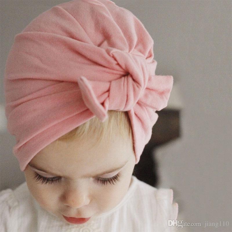 INS Bebek Bow Şapka Bunny Kulak Caps Avrupa Stili Turban Knot Baş sarar Şapkalar Pamuk 13Colors Bebek Hindistan Şapka Çocuk Kış Beanie