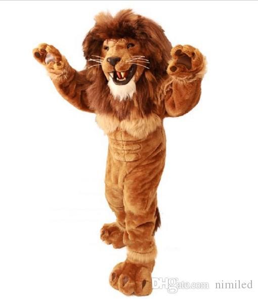 Friendly Lion Mascot Disfraz de adulto Tamaño Adulto Animal salvaje Male Lion Rey CARNIVAL Partido Mascotte Fit Tit Kit EMS
