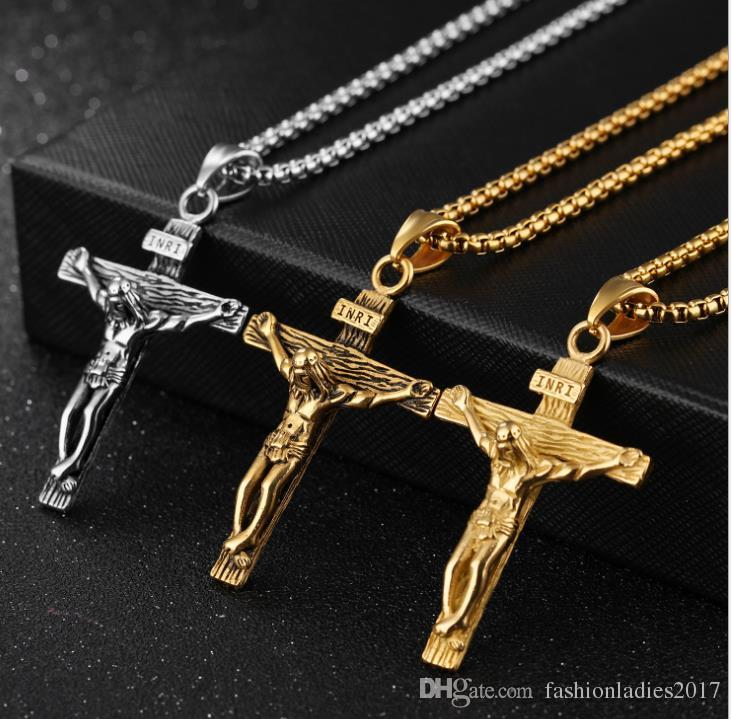 U7 Crucifix Cross Pendant Necklace Hot vintage antique silver gold Stainless Steel hip hop Religious Jewelry for Men Faith Necklaces