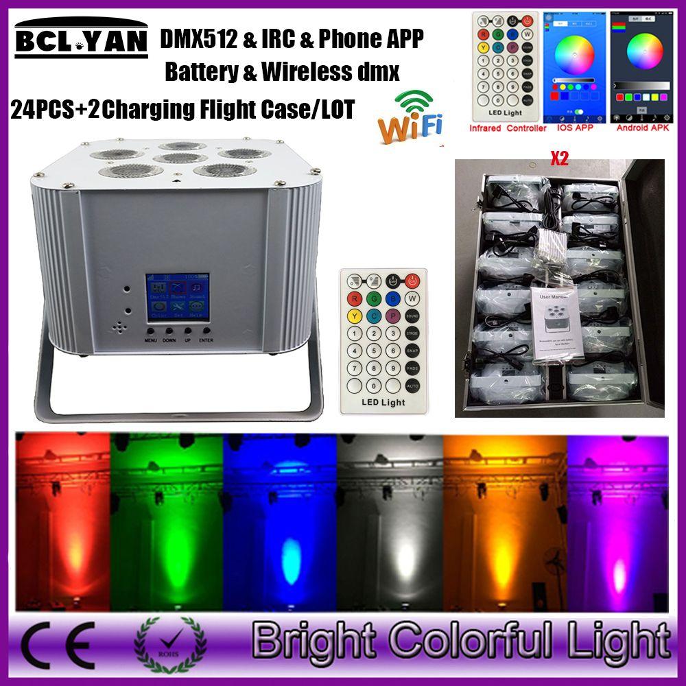 24 pcs + 2cases /lot 2017 newest wifi led battery powered wireless dmx led par uplight With IRC & Phone app 6 *18w RGBWA UV