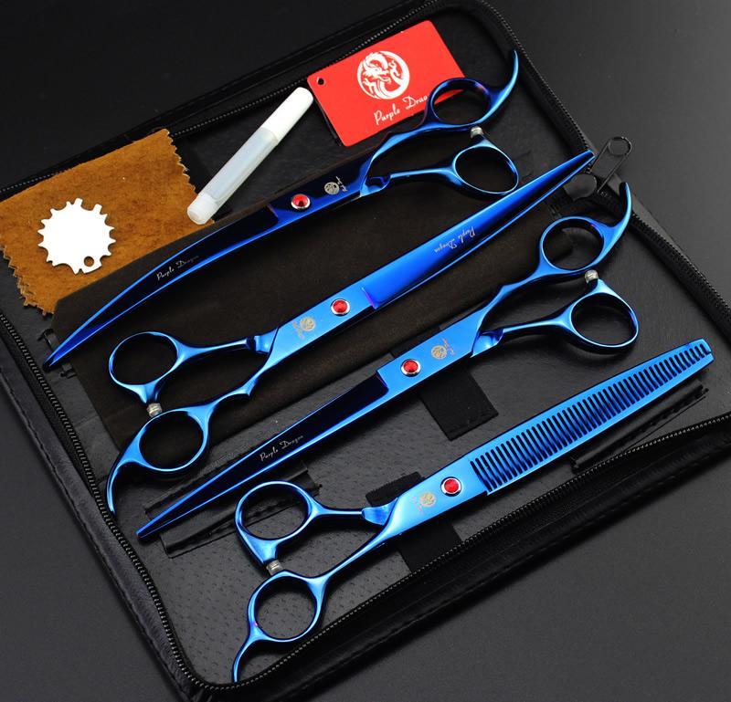 """8.0 """"Purple Dragon Professional Pet Grooming Scissors Forniture per cuccioli Forbici da taglio Forbici che si assottigliano Cesoie curve con borsa, LZS0496"""