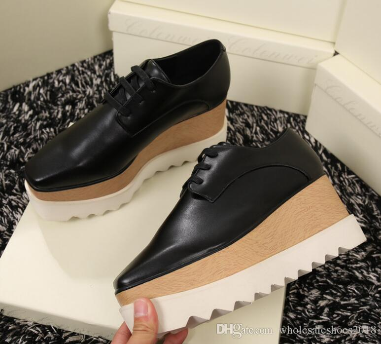 new product deaec e8ef4 2019 New Fashion Elyse Stella Mccartney Scarpe Shoes Black Genuine Leather  With White Sole Low Top 36 41 Skechers Shoes Mens Dress Shoes From ...