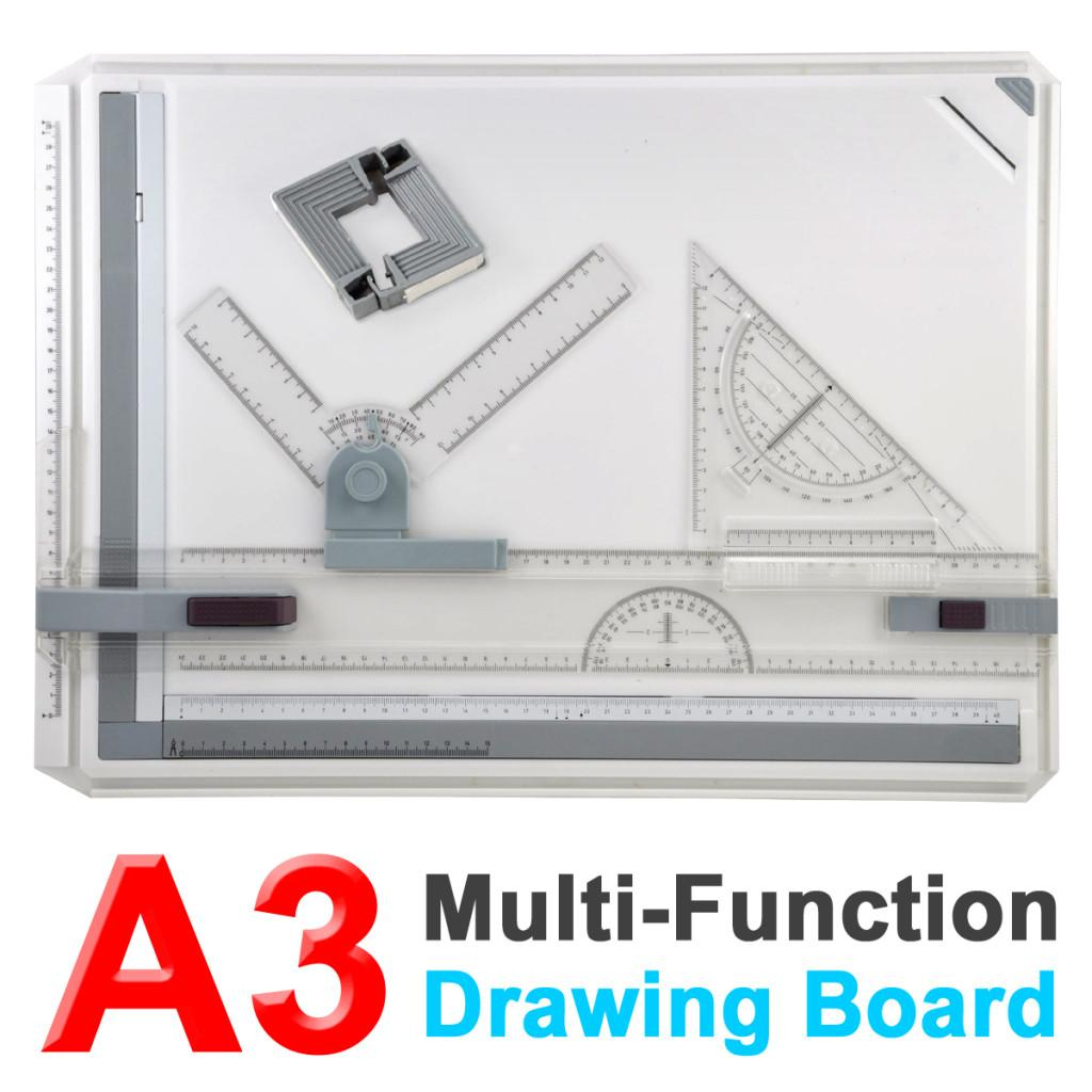 A3 Drawing Board Table Multifuctional Ergonomic Designed Adjustable Angle Rulers School Stationary Architectural Drawing Measuring System Angle Parallel Motion Drawing Board