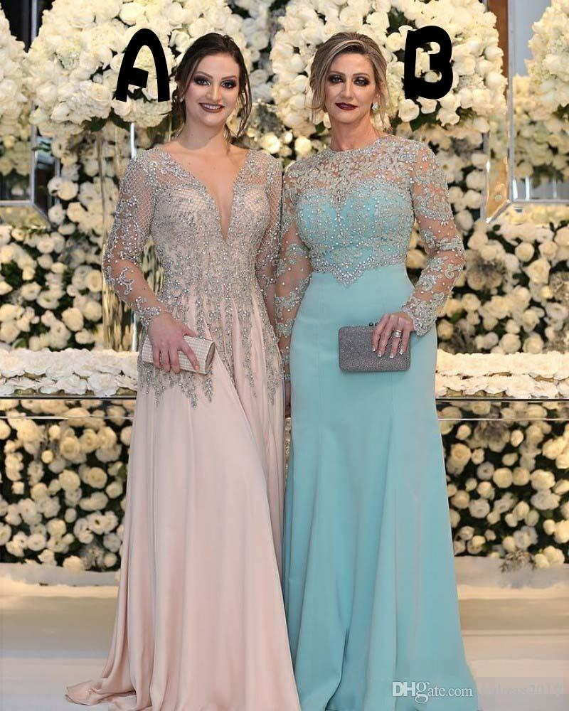 898a30321b2d8 2018 Sexy Mother Of The Bride Dresses Jewel Neck Long Sleeves Silver Beaded  Lace Appliques Beaded Chiffon Plus Size Party Dress Evening Gown Mother Of  ...