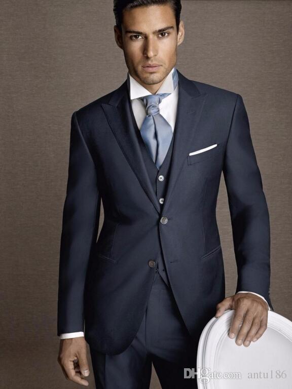 Ismarlama erkek takım elbise lacivert damat smokin yaka erkek düğün takım elbise parti resmi takım elbise (ceket + pantolon + yelek)