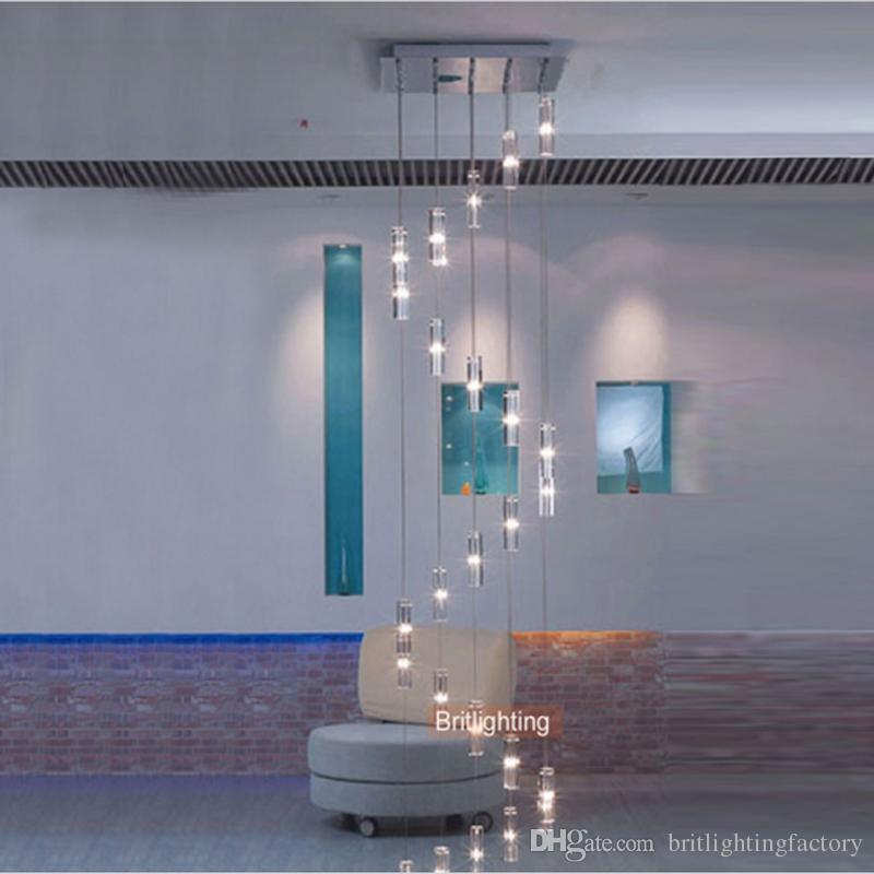 hôtel escalier lustre moderne luminaire lustre carré éclairage de chute de pluie escalier en colimaçon lustres en cristal en acier inoxydable
