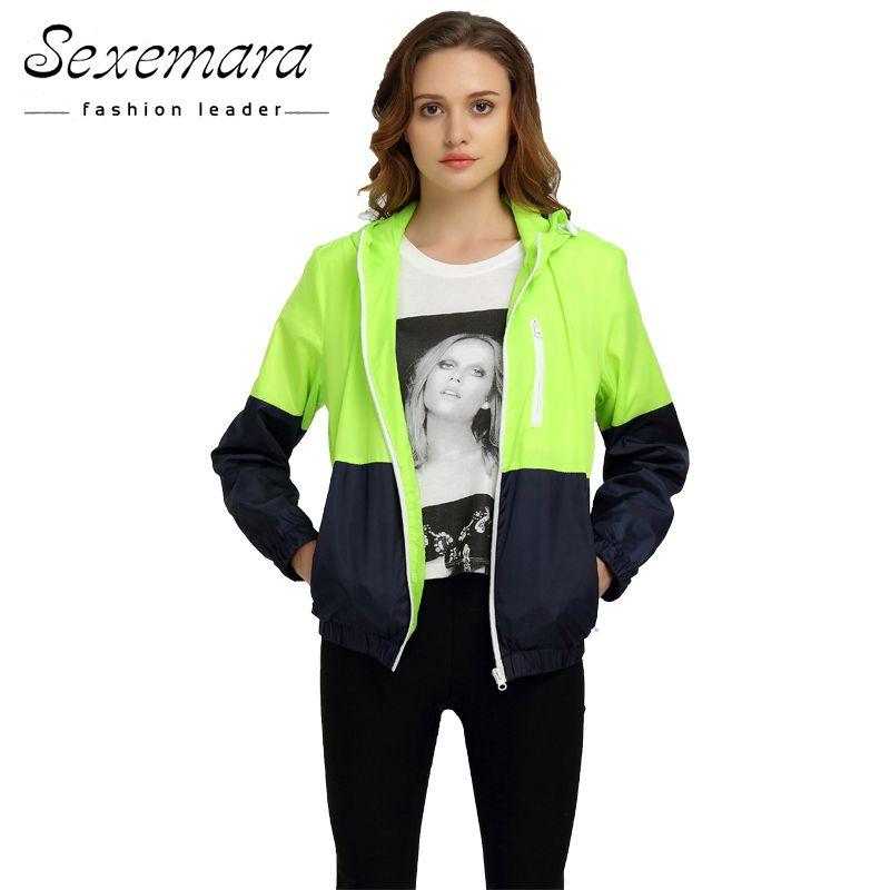 Großhandel - Sexy Anzug Reißverschluss Jacke Frauen Nylon 2016 Herbst Mode Jacke Mit Kapuze Basic Plus Size Casual Dünne Windjacke Weibliche Outwear