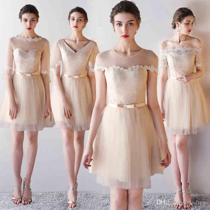 Light Champagne Bridesmaid Dress Knee