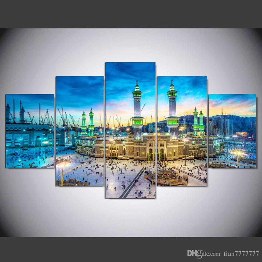 New Mosque Canvas Painting 5 Pcs/set Islamic Art Pictures For Home Wall Decor Room Printed Poster Painting No Frame