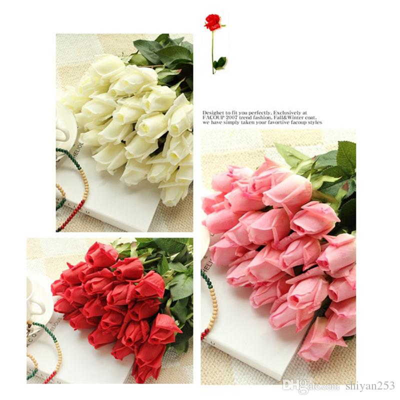 8 COLOR 신선한 장미 인공 꽃 진짜 터치 장미 꽃, 결혼식이나 파티를위한 가정 장식 55cm