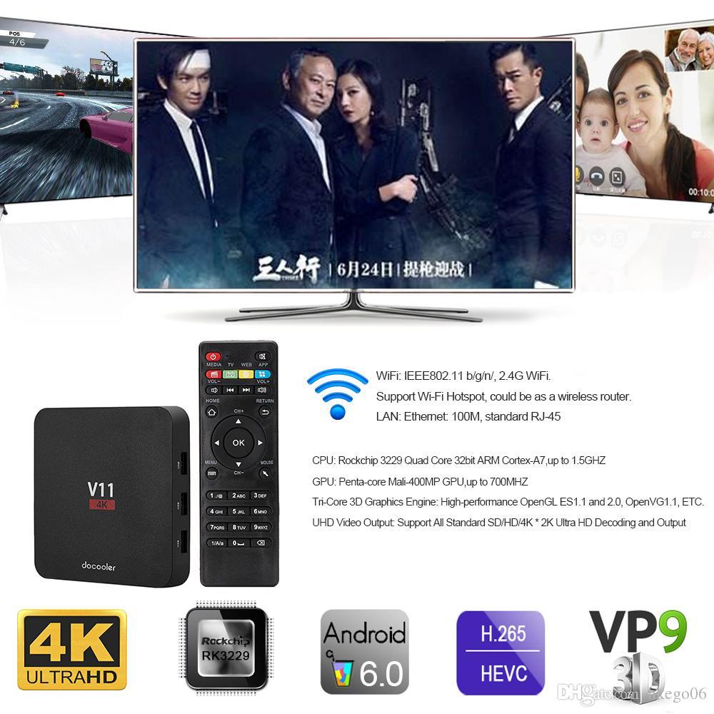 Docooler V11 Android 6.0 TV Box RK3229 Quad Core 2G+8G 32Bit HD 4K 3D WiFi Media