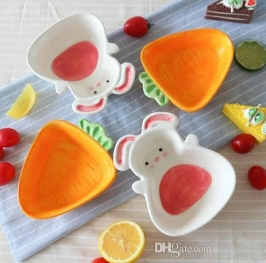 Food Fruits Rice Salad Pottery Ceramic Bowl Dessert Bowl Spoon Creative Lovely Hand Painted For Children Cartoon Flatware