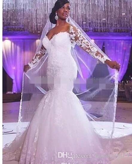 Lace Wedding Dresses Long Sleeves Mermaid Off Shoulder Applique ...