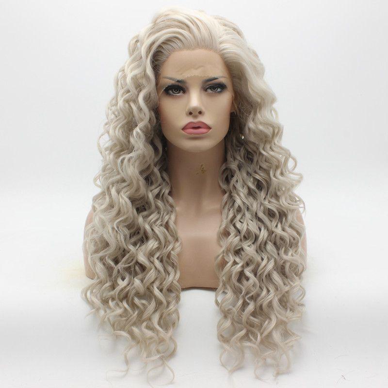 Peluca gris larga rizada del cabello de Iwona 18 # 4503/1001 Peluca delantera de encaje sintético resistente al calor a la mitad