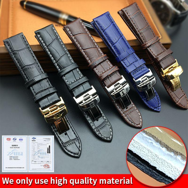 Bracelet de montre pour Tissot PRC200 T17 T41 T461 T049 19mm Argent papillon boucle en cuir véritable Bracelets montres Bracelet 18mm 20 mm 22mm