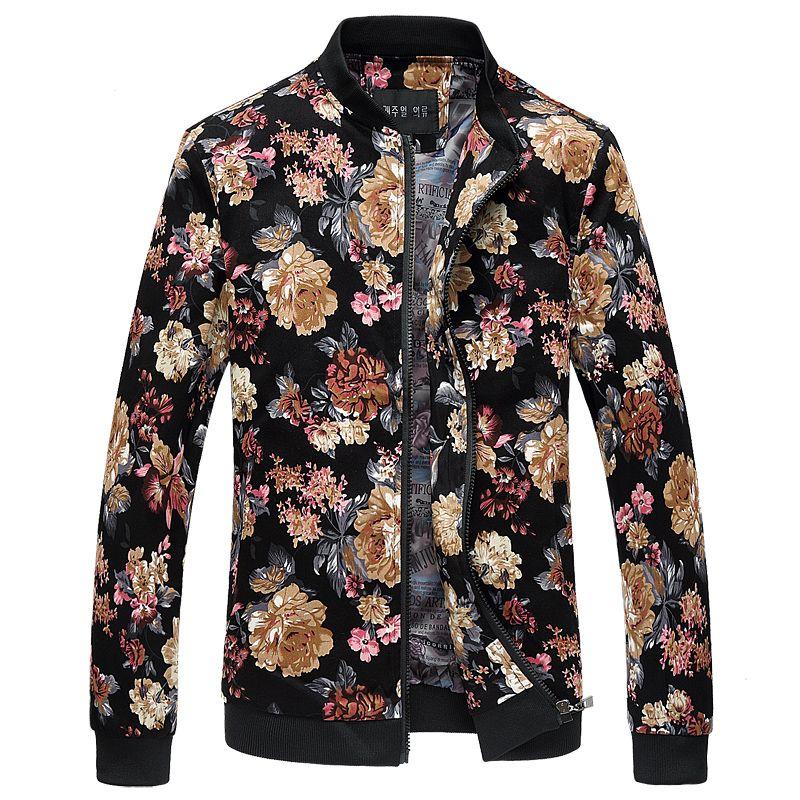 Wholesale- Bomber Jacket Men Autumn New Men Floral Jackets Hot Korean Slim Fit Long Sleeve Men Coats Stand Collar Mens Clothes Windbreaker