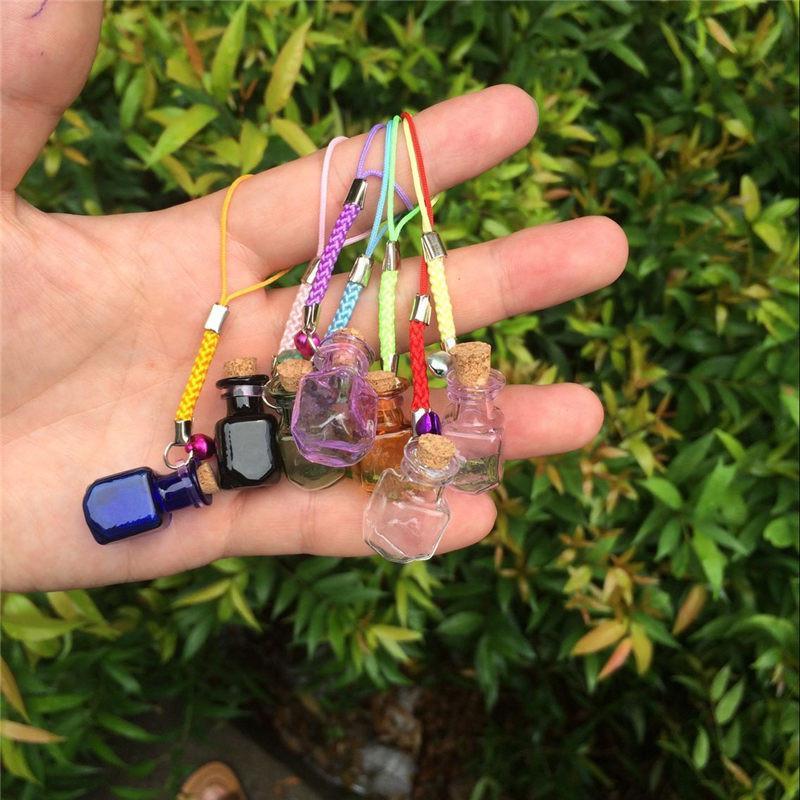 Glass Bottles Charms Rectangle Shape Mini Bell Bracelets Bottles Key Chains Jars Glass Charms Bottles Favor Mixed Colors (4)