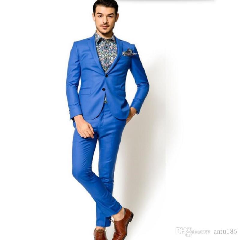 Yeni stil Damat takımları Smokin Yüksek Kalite Sağdıç Takım Mavi Düğün Suit Özel Made Adam Suit resmi vesilelerle suits (ceket + pantolon)