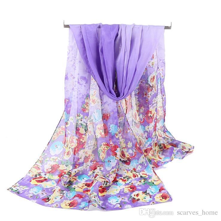 Usine pas cher conception de la mode papillon floral impression foulards en mousseline de soie femmes printemps et en automne longues foulards en soie dames châles sauvages chaud hij