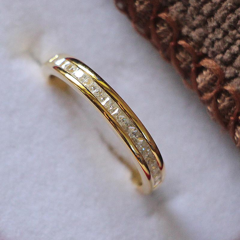 Banda de bodas para ella sintético corte princesa anillo de diamantes de joyería Mujeres sólido 925 anillo de plata chapado en oro amarillo