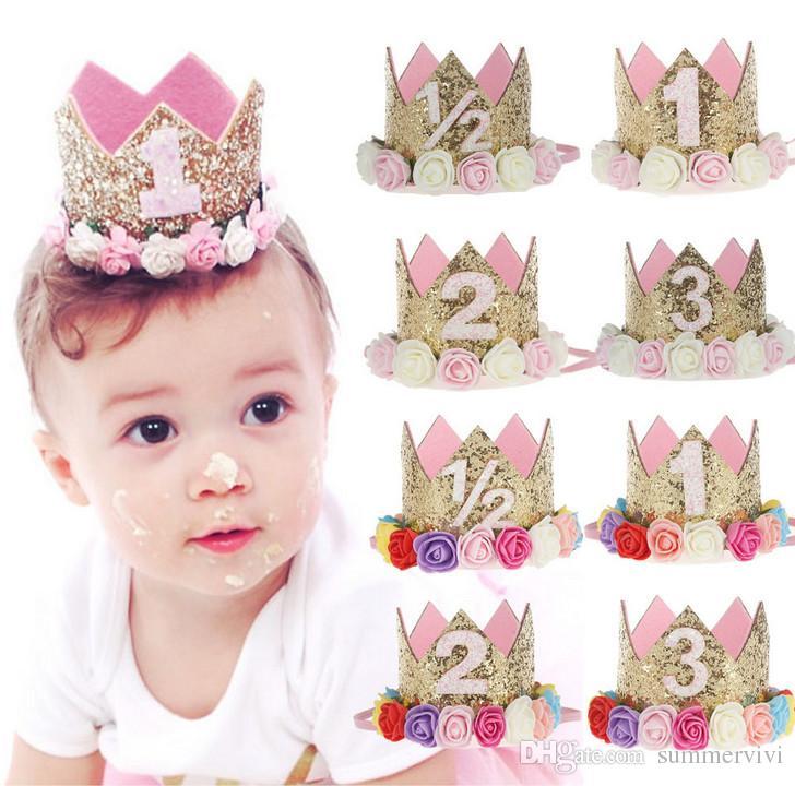 Couronne d'or mignon nouveau-né avec fleurs de rose Bandeaux pour bébés filles couronne fête d'anniversaire de cheveux accessoires pour enfants cadeau A1533