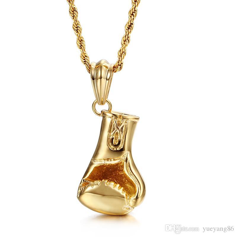 Nuovo design Sport Style Jewelry Regali Mens Gold Biker in acciaio inox Guanti da inscatolamento lucido 50mm * Collana pendente 24mm 22 ''
