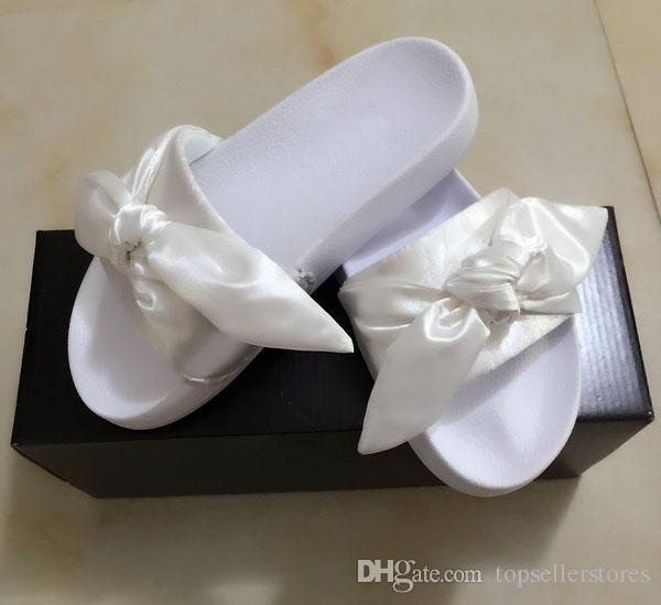 pretty nice b5b17 7dcd0 Fashion Women Slippers Fenty Bandana Slide RIHANNA Bow Slides Ladies  Slipper White Pink Red Gold Sale With Box Red Shoes Moon Boots From ...