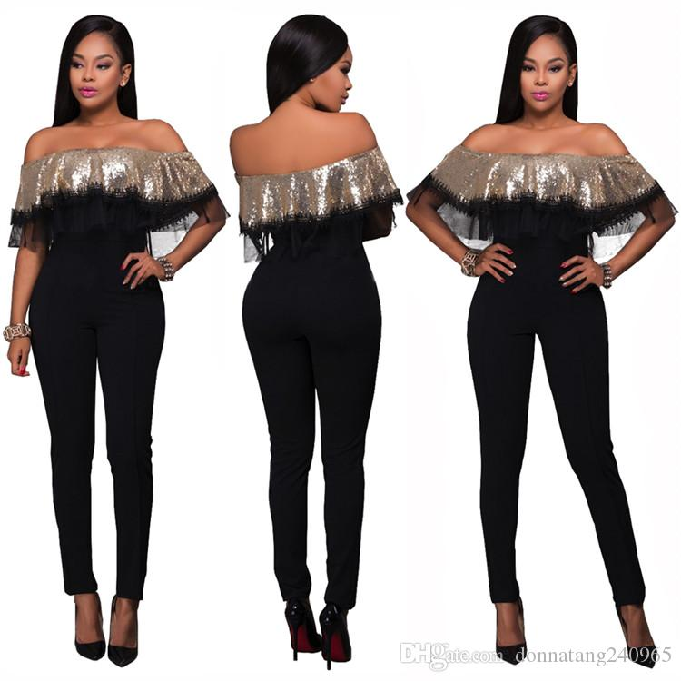 Sexy Club Party Off Shoulder Playsuit Gold Sequin Ruffle Top Slim Jumpsuit High Waist Pant Overalls for Women