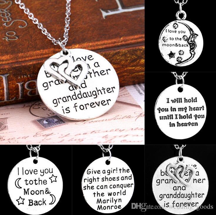 Free shipping New hot engraved engraved alphabet round text Grandmother pendant necklace WFN006 (with chain) mix order 20 pieces a lot