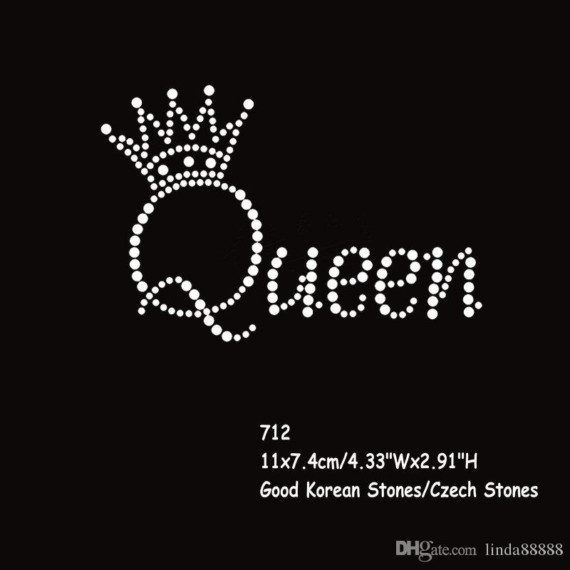 36pcs/lot Hotfix Rhinestone Transfers Iron On Motif Queen Crown Letters Wholesale